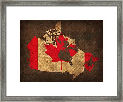 Map Of Canada With Flag Art On Distressed Worn Canvas Framed Print by Design Turnpike