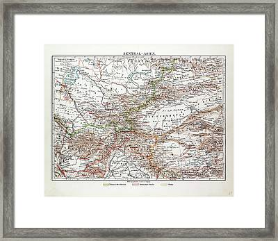 Map Of Central Asia Afghanistan Pakistan Republic Framed Print by Indian School