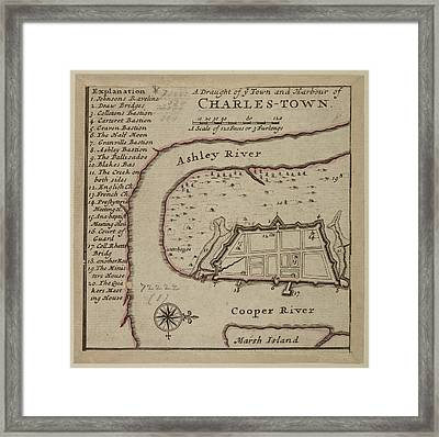 Map Of Charles-town Framed Print
