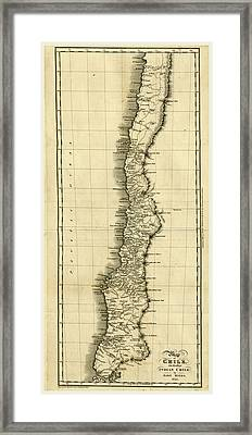 Map Of Chile 1825 Framed Print by Litz Collection
