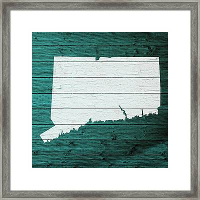Map Of Connecticut State Outline White Distressed Paint On Reclaimed Wood Planks Framed Print by Design Turnpike