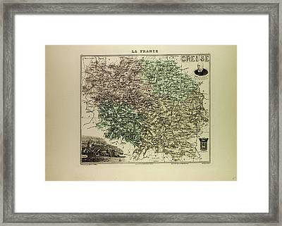 Map Of Creuse 1896 France Framed Print by French School