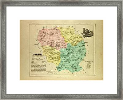 Map Of Creuse France Framed Print by French School