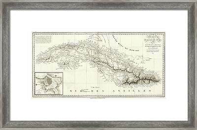 Map Of Cuba Framed Print by Library Of Congress, Geography And Map Division