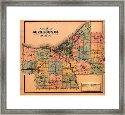 Map Of Cuyahoga County Ohio 1874 Framed Print by Mountain Dreams