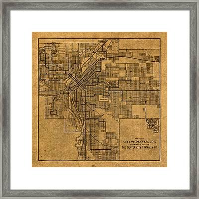 Map Of Denver Colorado City Street Railroad Schematic Cartography Circa 1903 On Worn Canvas Framed Print