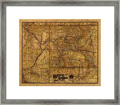 Map Of Denver Rio Grande Railroad System Including New Mexico Circa 1889 Framed Print