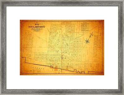 Map Of Detroit Michigan C 1835 Framed Print by Design Turnpike
