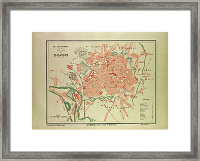 Map Of Dijon France Framed Print