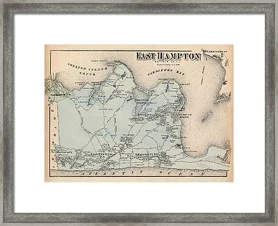 Map Of East Hampton 1873 Framed Print by Andrew Fare