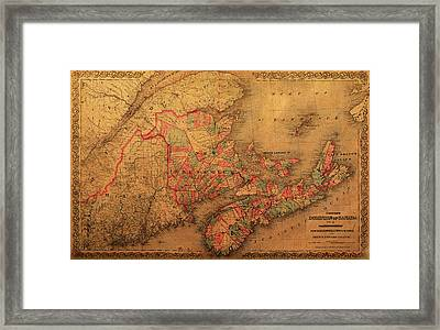 Map Of Eastern Canada Provinces Vintage Atlas On Worn Canvas Framed Print