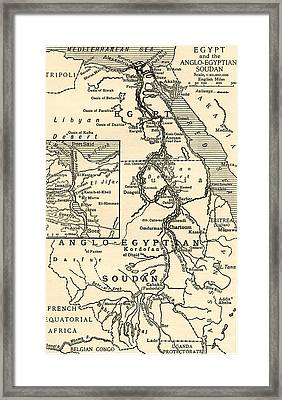 Map Of Egypt Framed Print by English School