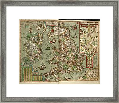 Map Of England And Ireland Drawn In 1606 Framed Print