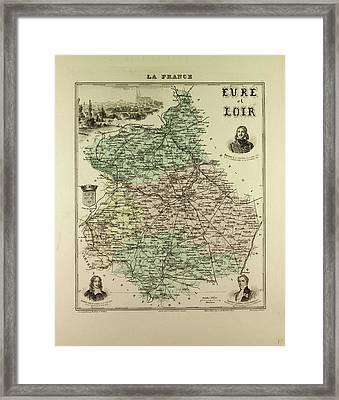 Map Of Eure And Loir 1896 France Framed Print