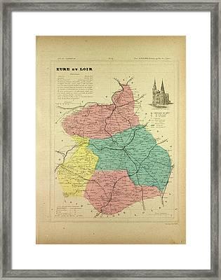 Map Of Eure Et Loir France Framed Print