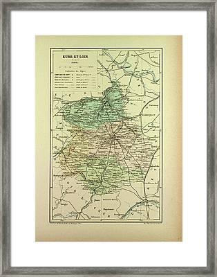 Map Of Eure-et-loire France Framed Print