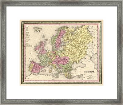 Map Of Europe Framed Print by Gary Grayson