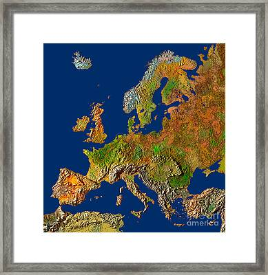 Map Of Europe In Relief Framed Print