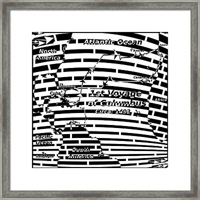 Map Of First Colombus Voyage Maze Framed Print by Yonatan Frimer Maze Artist