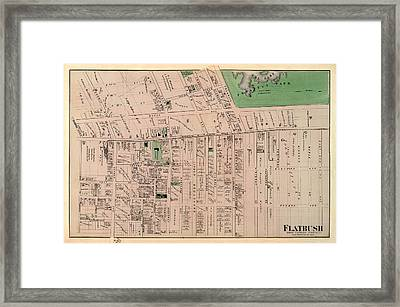 Map Of Flatbush 1873 Framed Print by Andrew Fare