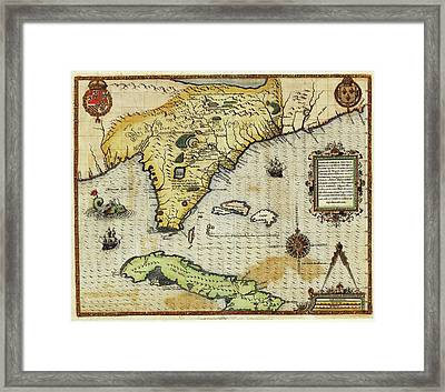 Map Of Florida And Cuba Framed Print