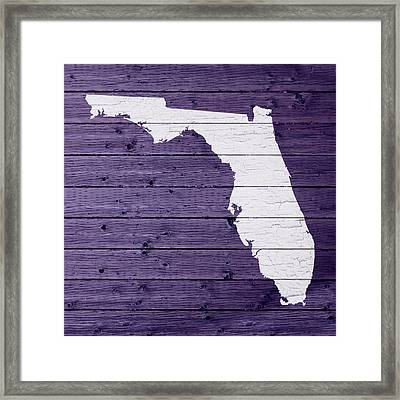 Map Of Florida State Outline White Distressed Paint On Reclaimed Wood Planks Framed Print
