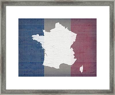 Map Of France In White Old Paint On French Flag Barn Wood  Framed Print