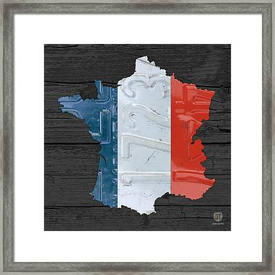 Map Of France Plus French Flag License Plate Art On Gray Wood Board Framed Print by Design Turnpike