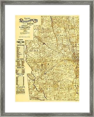 Map Of Franklin Country Ohio 1883 Framed Print by Mountain Dreams