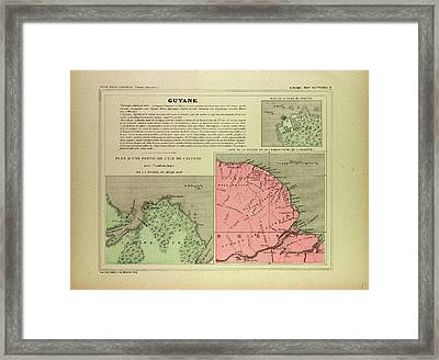 Map Of French Guiana Framed Print by English School