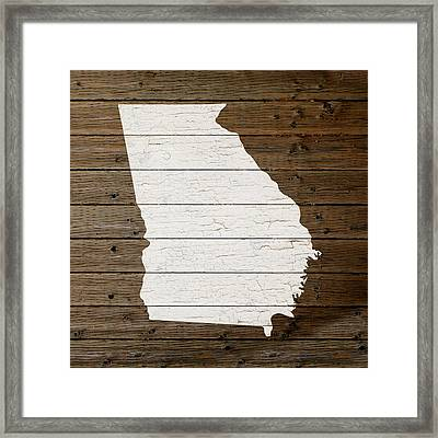 Map Of Georgia State Outline White Distressed Paint On Reclaimed Wood Planks Framed Print