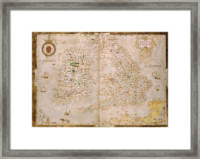 Map Of Great Britain And Ireland Framed Print by British Library