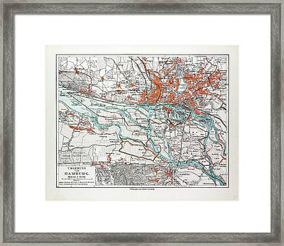 Map Of Hamburg And The Surrounding Area Germany 1899 Framed Print