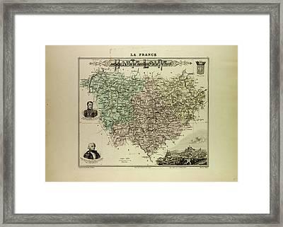 Map Of Haute Loire 1896 France Framed Print