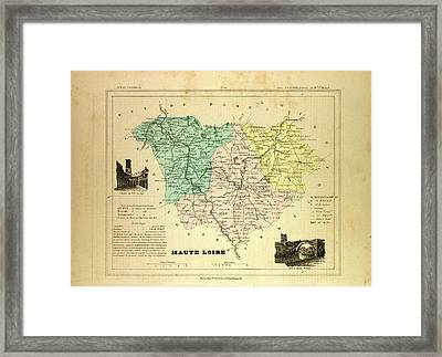 Map Of Haute Loire France Framed Print