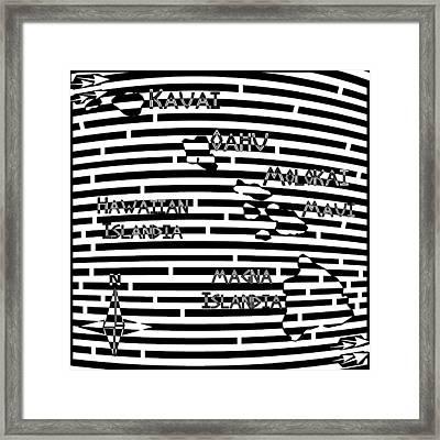 Map Of Hawaii Maze Framed Print by Yonatan Frimer Maze Artist