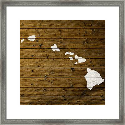 Map Of Hawaii State Outline White Distressed Paint On Reclaimed Wood Planks. Framed Print