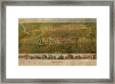 Map Of Houston Texas Circa 1891 On Worn Distressed Canvas Framed Print by Design Turnpike