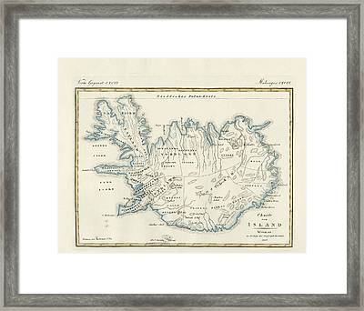 Map Of Iceland Framed Print by Splendid Art Prints
