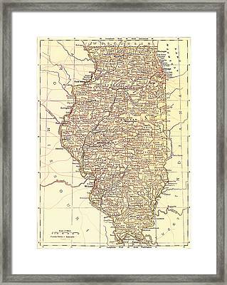 Map Of Illinois 1881 Framed Print by Mountain Dreams