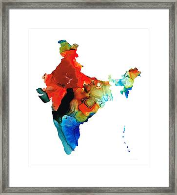 Map Of India By Sharon Cummings Framed Print by Sharon Cummings