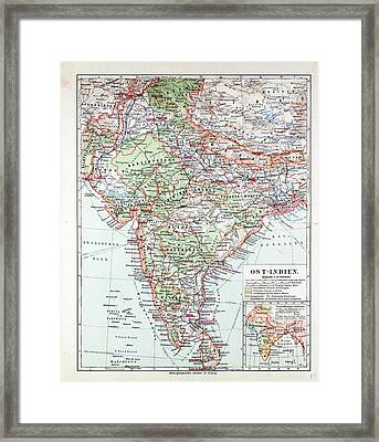 Map Of India Pakistan And Tibet 1899 Framed Print by Indian School