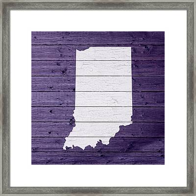 Map Of Indiana State Outline White Distressed Paint On Reclaimed Wood Planks Framed Print by Design Turnpike