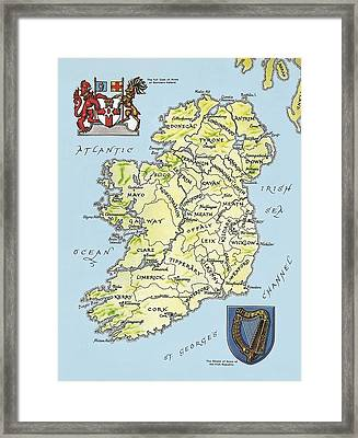 Map Of Ireland Framed Print by English School
