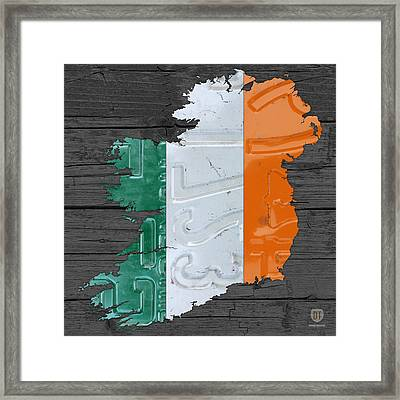 Map Of Ireland Plus Irish Flag License Plate Art On Gray Wood Board Framed Print
