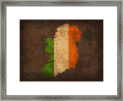 Map Of Ireland With Flag Art On Distressed Worn Canvas Framed Print