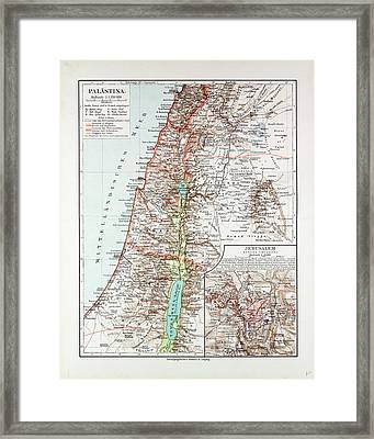 Map Of Israel Jerusalem The Southern Part Of Syria Lebanon Framed Print by Israeli School