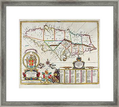 Map Of Jamaica - 1672 Framed Print by Charlie Ross