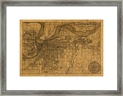 Map Of Kansas City Missouri Vintage Old Street Cartography On Worn Distressed Canvas Framed Print