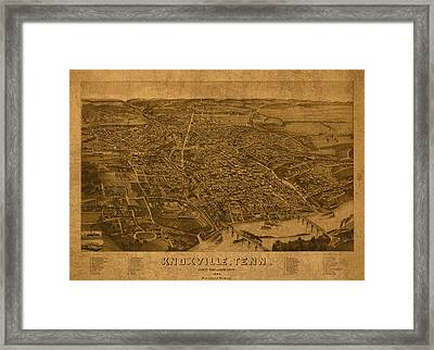 Map Of Knoxville Tennessee In 1886 On Worn Distressed Canvas Parchment Framed Print